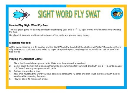 Sight Word Fly Swat Game