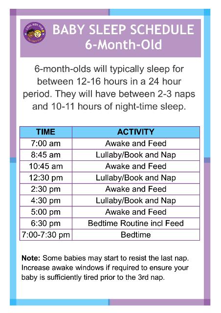 Sleep Schedule 6 Month Old