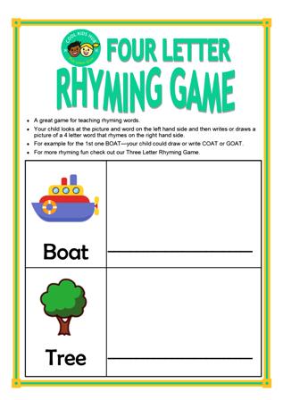4 Letter Rhyming Game